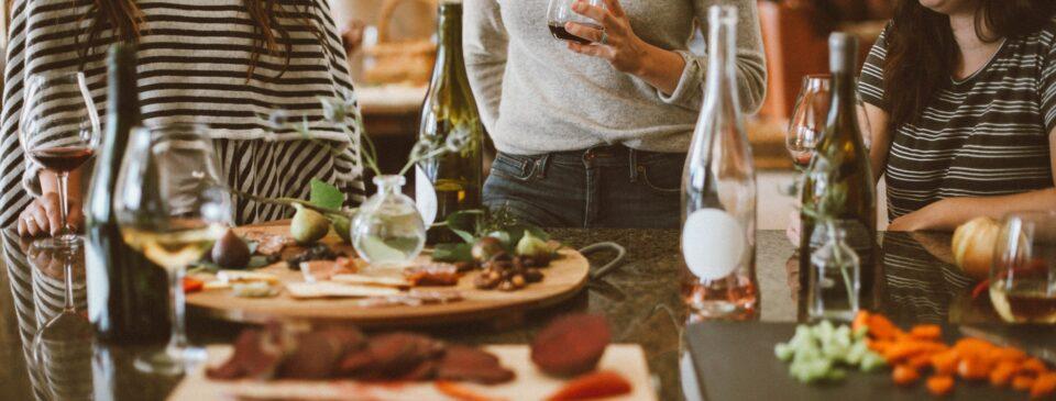 Three women enjoying a lunch party