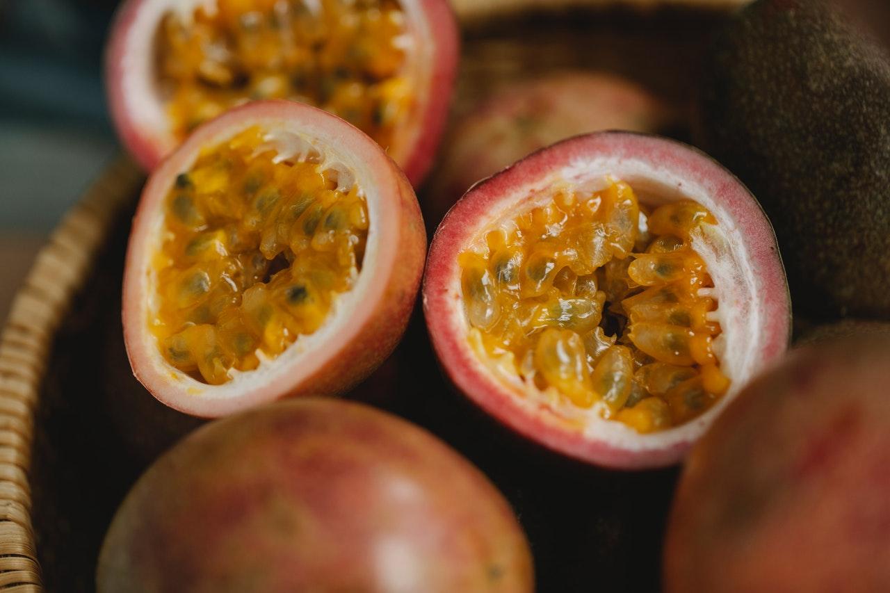 Ripe passion fruit in a wicker bowl