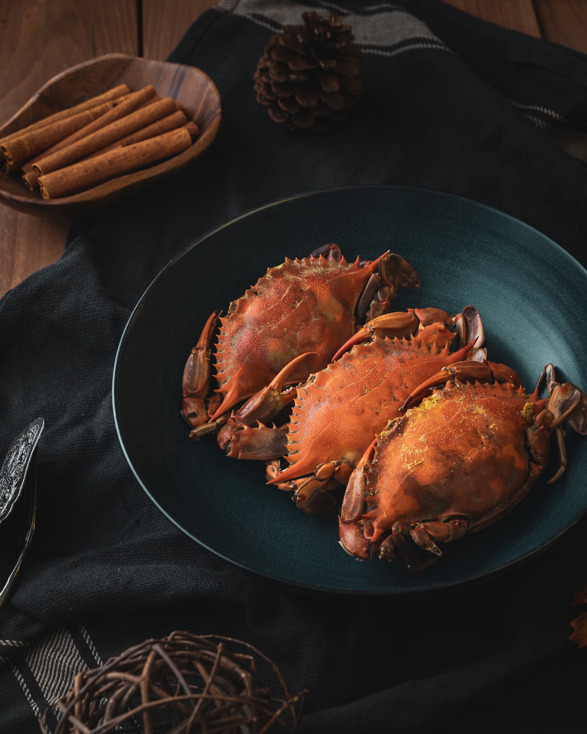 Crabs in a pan